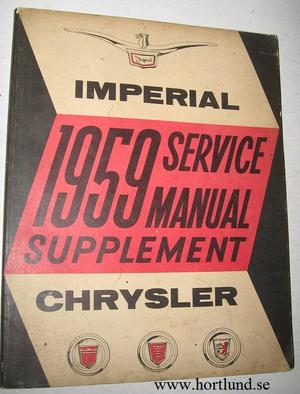 1959 Chrysler och Imperial Service Manual supplement original