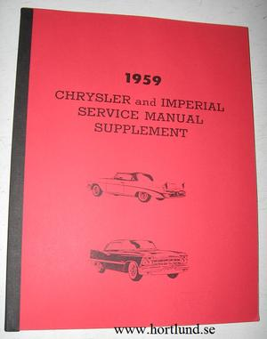 1959 Chrysler och Imperial Service Manual supplement