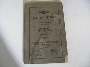 1922 - 1923 Chevrolet Instructions For the Operation And Care Of 490 & Superior Models