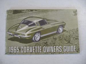1965 Chevrolet Corvette Owners Guide Nytryck