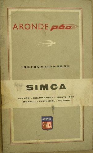 1959 Simca Aronde P60 instruktionsbok svensk