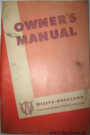 1950 Jeep Truck 473HT & 473-4WD Owner's Manual