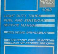1992 GMC Light Duty Truck Service Manual Fuel and Emissions Including Driveability