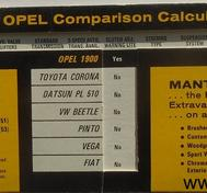 1973 Opel 1900 Manta and GT Comparison Calculator