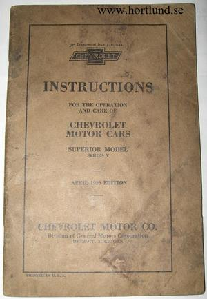 1926 Chevrolet Superior Model Series V Instructions