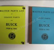 1928-1941 Buick master parts list body parts + chassis parts, set of 2 books