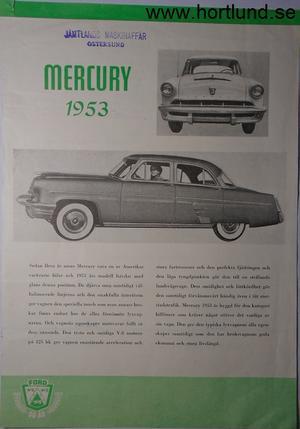1953 Mercury broschyr, Svensk