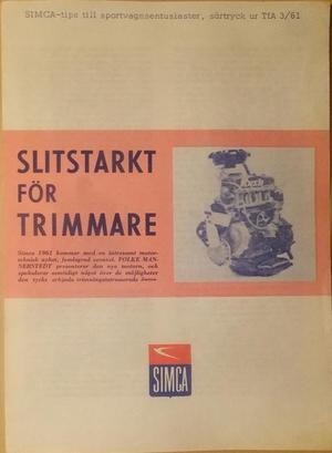 1961 Simca särtryck TfA 3/61 svensk