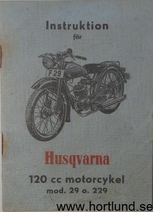 1952 Husqvarna 120 cc mod 29 o. 229 Instruktion